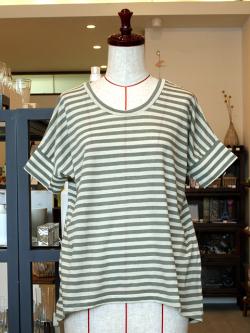 アンキャシェット Encachette ドルマンスリーブボーダーTシャツ Tシャツ コットン リネン